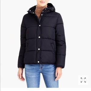 77852db46 SALE! NWT jcrew black short hooded puffer jacket M NWT